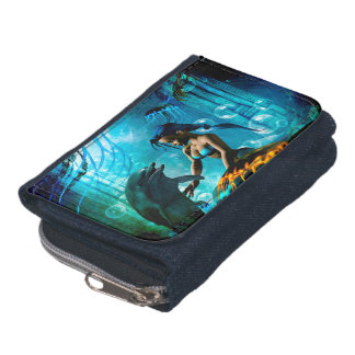 Funny dolphin playing with mermaid wallets
