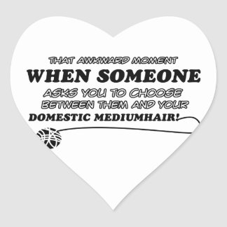 funny DOMESTIC MEDIUMHAIR desins Heart Sticker