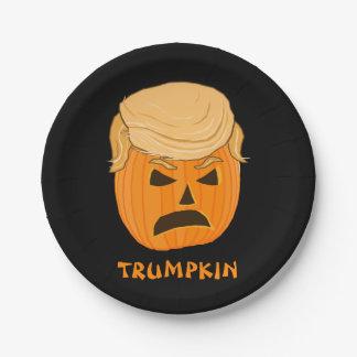 Funny Donald Trumpkin Pumpkin Jack-o-lantern Paper Plate