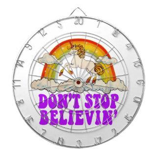 Funny Don't Stop Believin' in Unicorns Dartboard