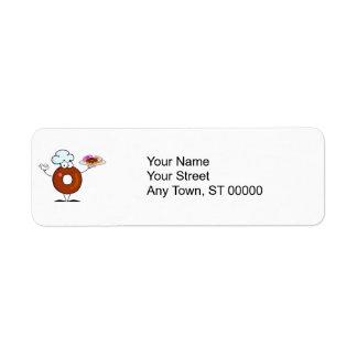 funny donut donut chef cartoon character return address label