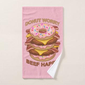 Funny Donut Worry Beef Happy Bacon Cheeseburger Bath Towel Set