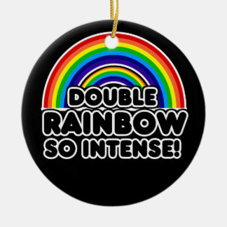 Funny Double Rainbow OMG Ceramic Ornament