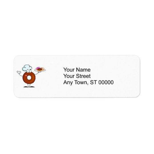 funny doughnut doughnut chef cartoon character return address label