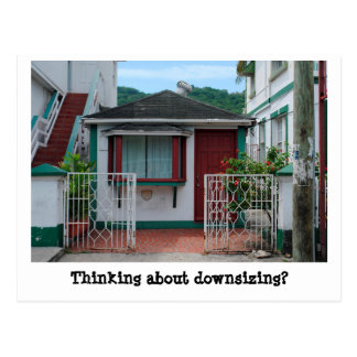 Funny downsizing real estate marketing postcard