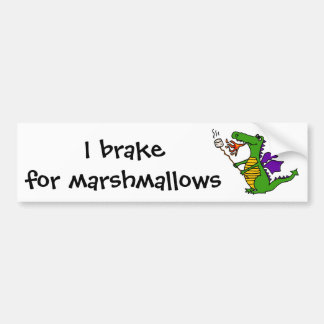 Funny Dragon Roasting Marshmallows Cartoon Bumper Sticker
