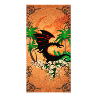 Funny dragon with palm and flowers photo greeting card