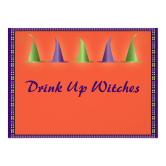 Funny Drink Up Witches Happy Halloween Card