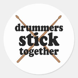 Funny Drummer Classic Round Sticker