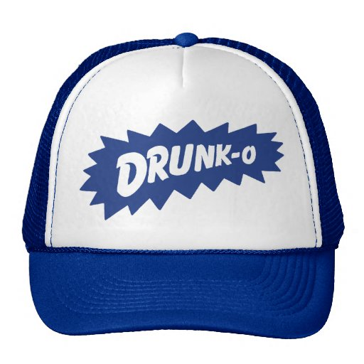 Funny 'DRUNK-O' Mesh Truckers Hat (blue)