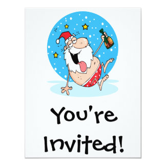 funny drunk santa on vacation personalized invitations