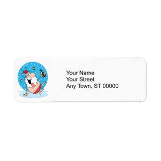 funny drunk santa on vacation custom return address labels