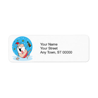 funny drunk santa on vacation return address labels