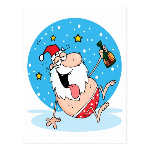 funny drunk santa on vacation post cards