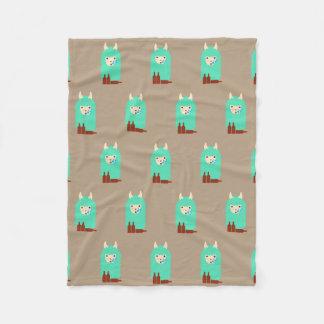 Funny Drunken Llama Emoji Fleece Blanket