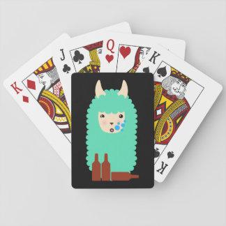 Funny Drunken Llama Emoji Playing Cards