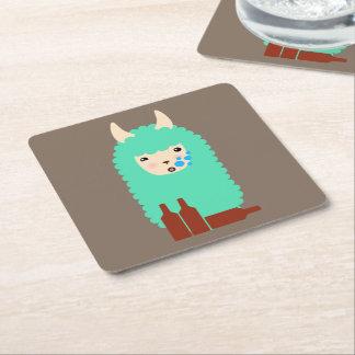 Funny Drunken Llama Emoji Square Paper Coaster
