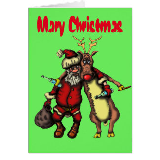 Funny drunken Santa and Rudolph Christmas card