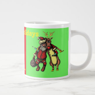 Funny drunken Santa and Rudolph Christmas mug