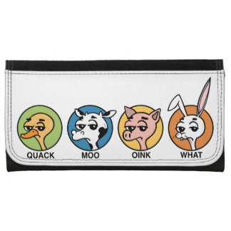 FUNNY DUCK COW PIG AND RABBIT LARGE WALLET