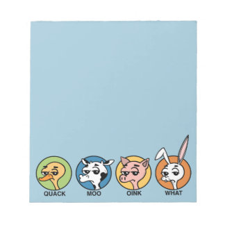 FUNNY DUCK COW PIG AND RABBIT NOTEPAD