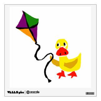 Funny Duck Flying Kite cartoon Wall Decal
