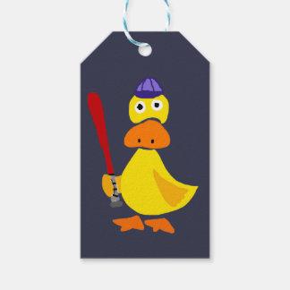 Funny Duck Playing Baseball Cartoon Gift Tags