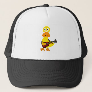 Funny Duck Playing Guitar Primitive Art Trucker Hat