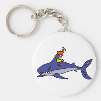 Funny Duck Riding Shark Cartoon Keychain
