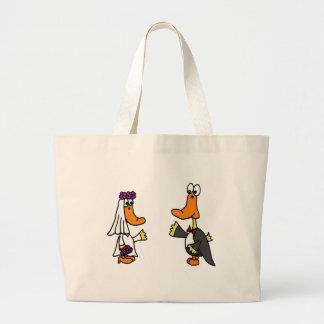 Funny Ducks Bride and Groom Wedding Cartoon Tote Bags