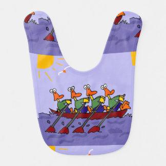 Funny Ducks in a Row Boat Cartoon Bib