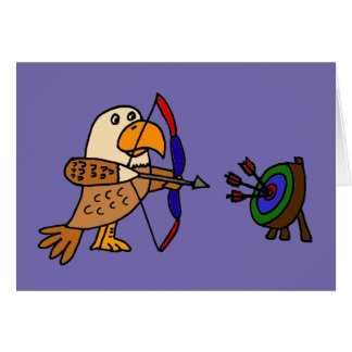 Funny Eagle Practicing Archery Card