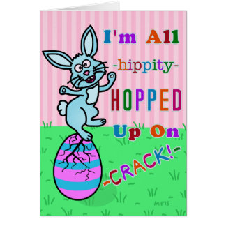 Funny Easter Bunny Cracked Egg Humor Card