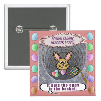 Funny Easter Bunny Horror Movie 2 Inch Square Button