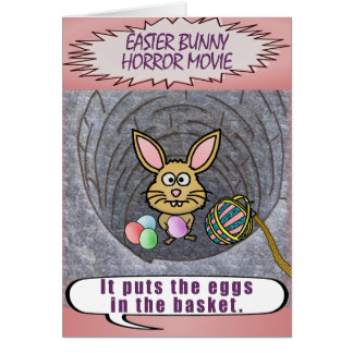 Funny Easter Bunny Horror Movie Card