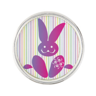 Funny Easter Bunny on Stripes Lapel Pin