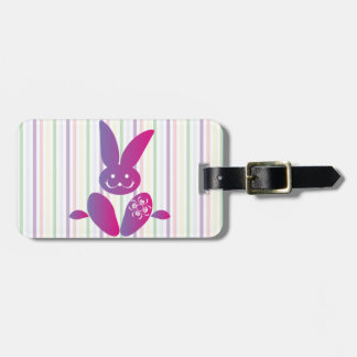 Funny Easter Bunny on Stripes Luggage Tag