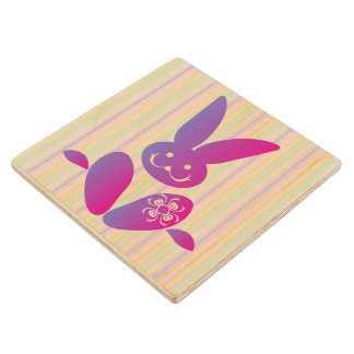 Funny Easter Bunny on Stripes Wood Coaster