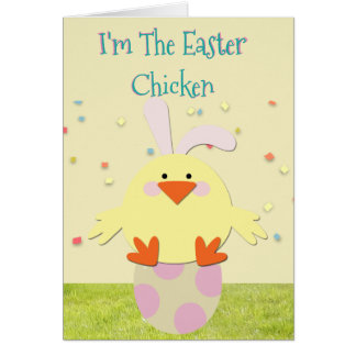 "Funny Easter Card w/""Easter Chicken"" & Easter Eggs"