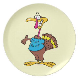 funny eat beef turkey cartoon plate