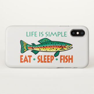 Funny Eat Sleep Fish iPhone X Case