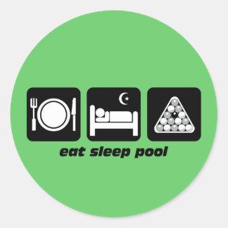 funny eat sleep pool classic round sticker