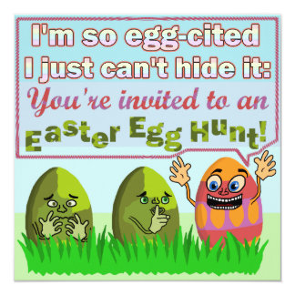 "Funny Eggcited Easter Egg Hunt Party 5.25"" Square Invitation Card"