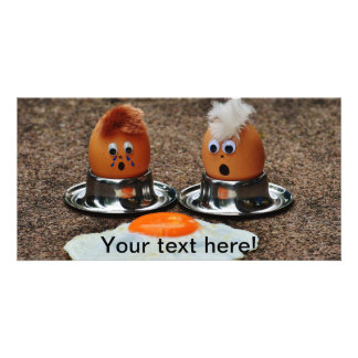 Funny eggs customized photo card