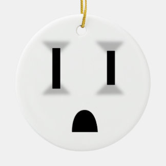 Funny Electrical Outlet Round Ceramic Ornament