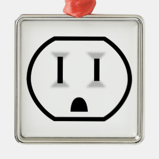 Funny Electrical Outlet Silver-Colored Square Ornament