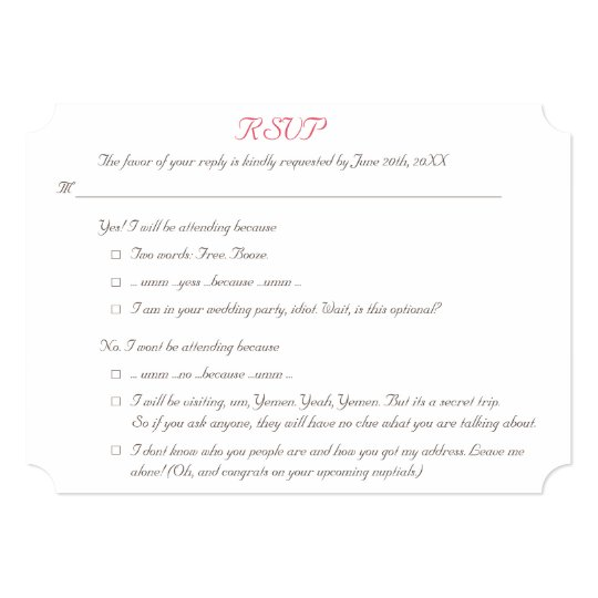 Funny Elegant Personalized Wedding RSVP Invitation