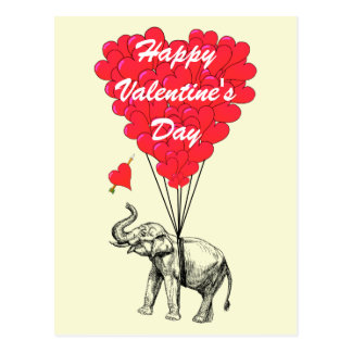 Funny elephant and love heart Valentines Postcard