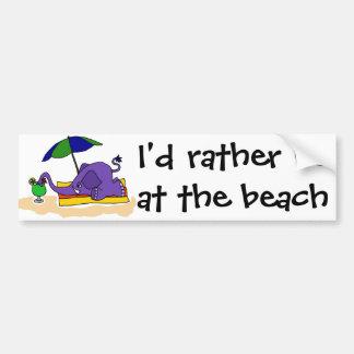 Funny Elephant at the Beach Bumper Sticker