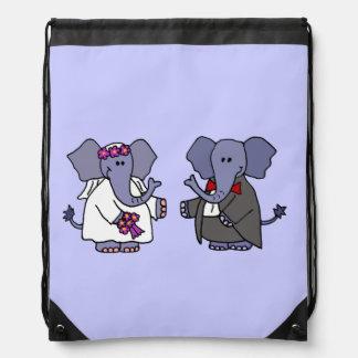 Funny Elephant Bride and Groom Wedding Art Backpack